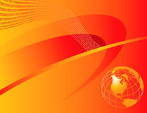 Orange Globe with Binary. An orange and red background with a globe and binary number pattern Royalty Free Stock Image