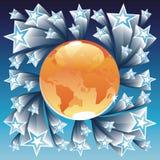 Orange globe and blue stars Stock Image