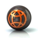 Orange globe icon on black glossy sphere. 3d illustration on white background Royalty Free Stock Images