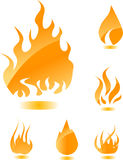 Orange glossy fire. Icons for your design Stock Images