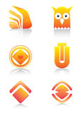 Orange glossy signs and symbols set Stock Photos