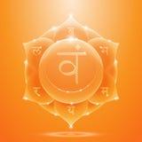Orange glossy svadhisthana chakra banner Royalty Free Stock Image