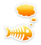 Orange glossy thinking fish bone stickers. With light shadow effect Stock Photo