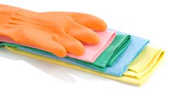 Orange glove on rags Stock Photo