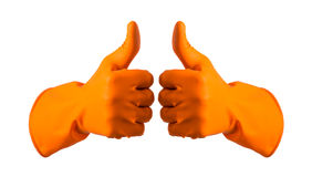 Orange gloves for cleaning on mens arm show thumbs up, isolated Stock Image