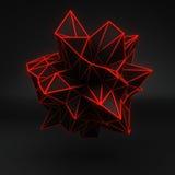 Orange glow polygonal 3D shape on black Royalty Free Stock Photos