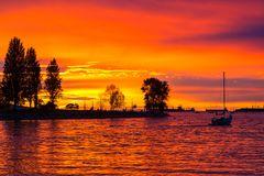 Orange Glow Sunset at Sunset Beach in Vancouver BC Canada Royalty Free Stock Photo