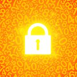 Orange glowing lock and map Stock Photography