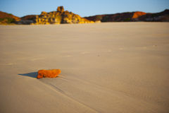Orange Glowing Rock on lonely Beach. An orange glowing rock lying on the wet sand of a lonely beach at low tide Stock Images