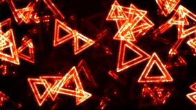 Orange Glowing Triangles Animation Background. Backdrop stock video footage