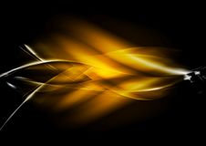 Orange glowing vector waves design Stock Photography