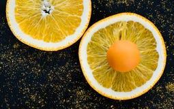 Orange godis på den orange cirkeln arkivfoto