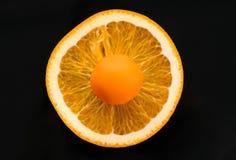 Orange godis på den orange cirkeln royaltyfri bild