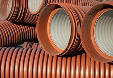 Orange  goffered pipe close-up Stock Image