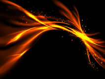 Orange gold abstract fiery flashes with stars on black background Royalty Free Stock Images