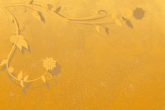 Orange-gold background with curled branches and flowers in the corner. Golden orange gradient based illustration. sinuous branches with flowers and leaves out of Royalty Free Stock Images