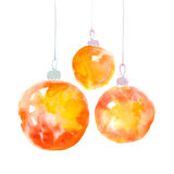 Orange gold Christmas decorations watercolor illustration. Royalty Free Stock Photo