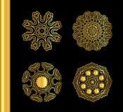Orange gold  pattern isolated on  background. Mandala tattoo art. Ornamental round lace gold design Royalty Free Stock Photography