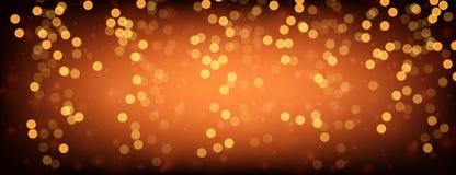 Orange and golden luminous banner. Festive orange and golden luminous banner. Vector illustration Royalty Free Stock Image