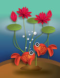 Orange Goldfish with bobbles and lotus. Paper cut style stock illustration