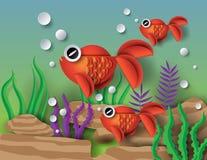 Orange Goldfish with bobbles. Paper cut style stock illustration
