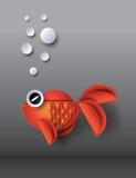 Orange Goldfish with bobbles. Paper cut style vector illustration