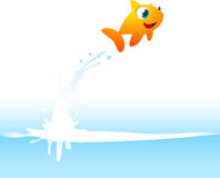 Orange Goldfish Fish Jumping Out of the Water. With water splash  illustration Stock Images