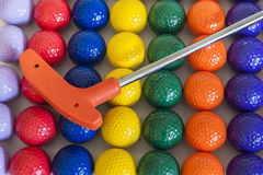 Orange Golf Club and Balls Royalty Free Stock Photography