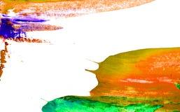 Orange gr?n-blaue Pinselstellen auf wei?em Hintergrund stockbild