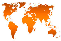 Orange gradient world map, isolated Stock Photos