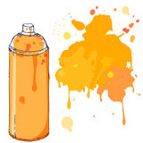 Orange graffiti spray paint can with splash place for text. Vector illustration. Stock Photos