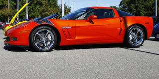 Orange Grand sport Corvette Stock Images