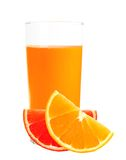 Orange and grapefruit juice in the glass isolated on white Stock Photos