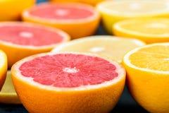 Orange, Grapefruit And Lemon Citrus Fruit Slices. Macro Stock Photography