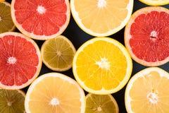Orange, Grapefruit And Lemon Citrus Fruit Slices. Macro Royalty Free Stock Photography