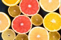 Orange, Grapefruit And Lemon Citrus Fruit Slices. Macro Royalty Free Stock Photos