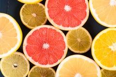 Orange, Grapefruit And Lemon Citrus Fruit Slices. Macro Royalty Free Stock Images