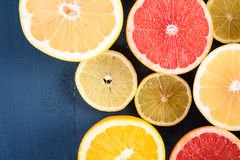 Orange, Grapefruit And Lemon Citrus Fruit Slices. Macro Stock Photos