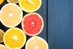 Orange, Grapefruit And Lemon Citrus Fruit Slices. Macro Royalty Free Stock Photo