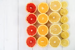 Orange, Grapefruit, Lemon And Lime Citrus Fruit Slices. On Table Royalty Free Stock Photography
