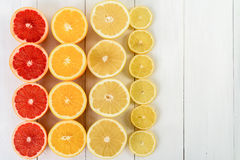 Orange, Grapefruit, Lemon And Lime Citrus Fruit Slices. On Table Stock Photos