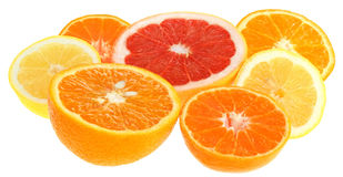 Orange, grapefruit, lemon and tangerine. Stock Photo