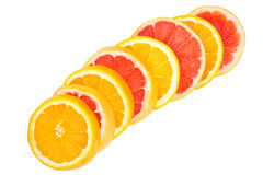 Orange and grapefruit slices Stock Photography