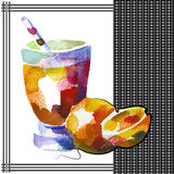 Orange. (grapefruit) smoothie in watercolor style Royalty Free Stock Images