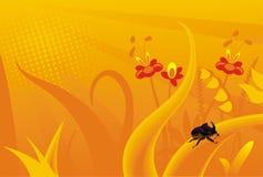 Orange grass rhino bug flowers. Plants illustration Royalty Free Stock Image