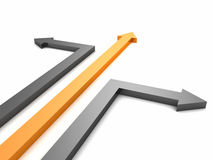 Orange and gray arrows to different directions Stock Image