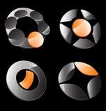 Orange gray business icon set Stock Photo