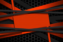 Orange and gray carbon fiber frame on black mesh carbon backgrou. Nd. metal background and texture. 3d illustration material design Royalty Free Stock Photos