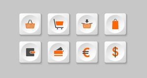 Orange and gray eshop buttons. Illustration Royalty Free Stock Photo