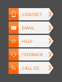 Orange and gray flat contact buttons Stock Images